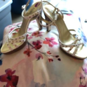 Franco Sarto Shoes - FRANCO SARTO white leather gold stud &button heels